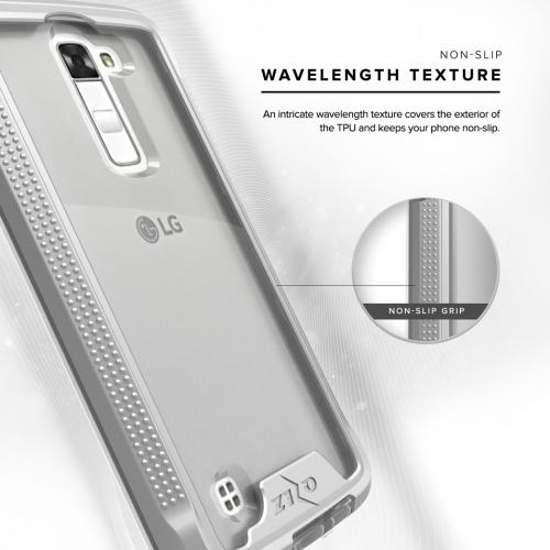 [LG K10] Case, ION Single Layered Shockproof Protection TPU & PC Hybrid Cover w/ Tempered Glass [Silver/ Clear]