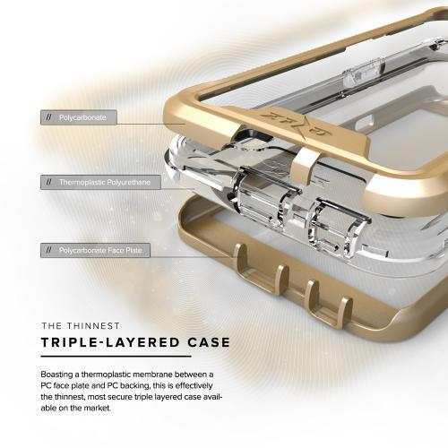 [LG X Power Case], ION Single Layered Shockproof Protection TPU & PC Hybrid Cover w/ Tempered Glass [Gold/ Clear]
