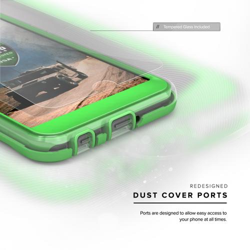 [LG X Power] Case, ION Single Layered Shockproof Protection TPU & PC Hybrid Cover w/ Tempered Glass [Neon Green/ Clear]