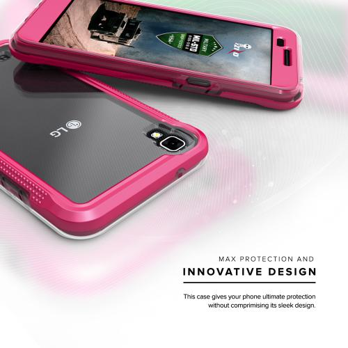 LG X Power Case, ION Single Layered Shockproof Protection TPU & PC Hybrid Cover w/ Tempered Glass [Hot Pink/ Clear]