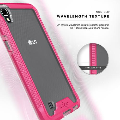 [LG X Power] Case, ION Single Layered Shockproof Protection TPU & PC Hybrid Cover w/ Tempered Glass [Hot Pink/ Clear]