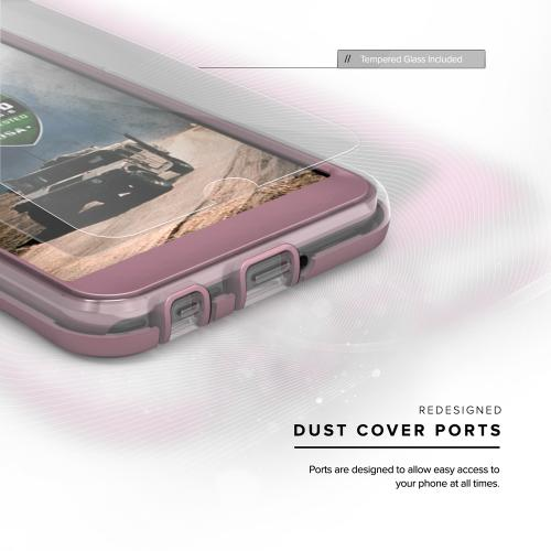 [LG X Power] Case, ION Single Layered Shockproof Protection TPU & PC Hybrid Cover w/ Tempered Glass [Rose Gold/ Clear]