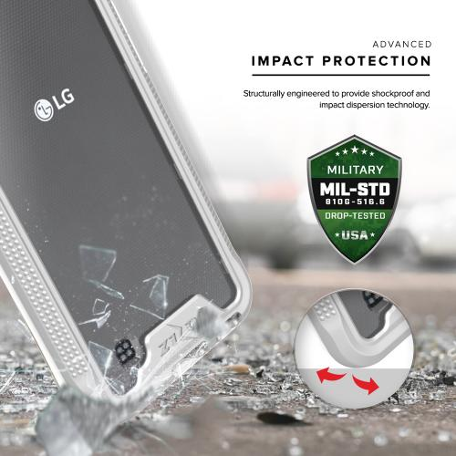 [LG X Power] Case, ION Single Layered Shockproof Protection TPU & PC Hybrid Cover w/ Tempered Glass [Silver/ Clear]