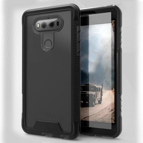 [LG V20] Case, ION Single Layered Shockproof Protection TPU & PC Hybrid Cover w/ Tempered Glass [Black/ Smoke]
