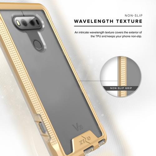 [LG V20] Case, ION Single Layered Shockproof Protection TPU & PC Hybrid Cover w/ Tempered Glass [Gold/ Clear]