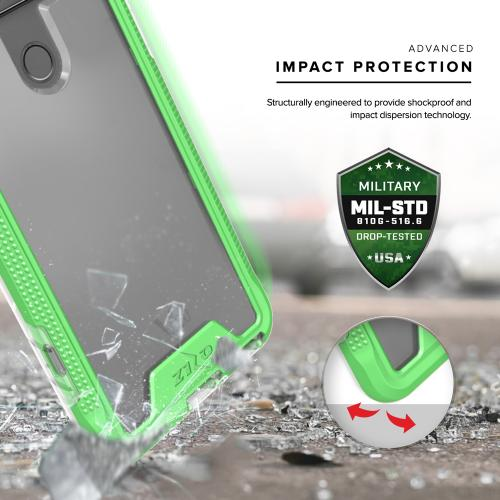 [LG V20] Case, ION Single Layered Shockproof Protection TPU & PC Hybrid Cover w/ Tempered Glass [Neon Green/ Clear]