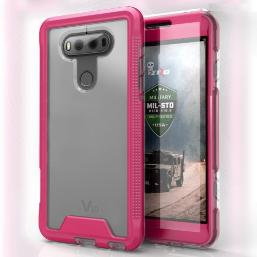 [LG V20] Case, ION Single Layered Shockproof Protection TPU & PC Hybrid Cover w/ Tempered Glass [Hot Pink/ Clear]