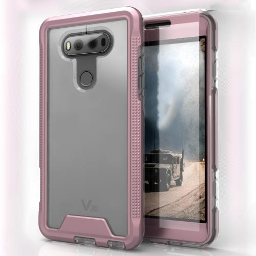 LG V20 Case, ION Single Layered Shockproof Protection TPU & PC Hybrid Cover w/ Tempered Glass [Rose Gold/ Clear]