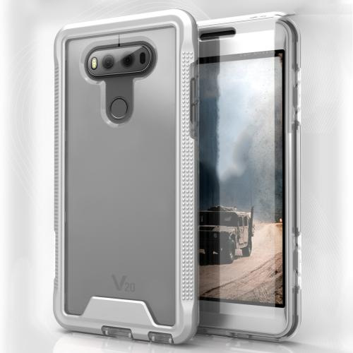 LG V20 Case, ION Single Layered Shockproof Protection TPU & PC Hybrid Cover w/ Tempered Glass [Silver/ Clear]