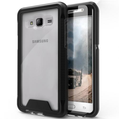 Samsung Galaxy On5 G550 Case, ION Single Layered Shockproof Protection TPU & PC Hybrid Cover w/ Tempered Glass [Black/ Clear]