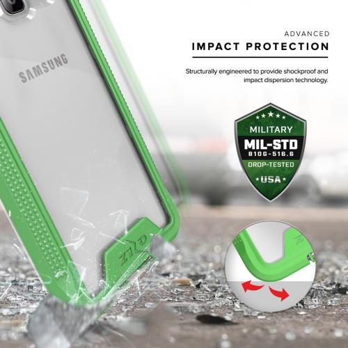 Samsung Galaxy On5 G550 Case, ION Single Layered Shockproof Protection TPU & PC Hybrid Cover w/ Tempered Glass [Neon Green/ Clear]