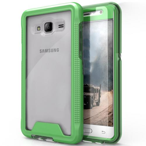 [Samsung Galaxy On5] G550 Case, ION Single Layered Shockproof Protection TPU & PC Hybrid Cover w/ Tempered Glass [Neon Green/ Clear]