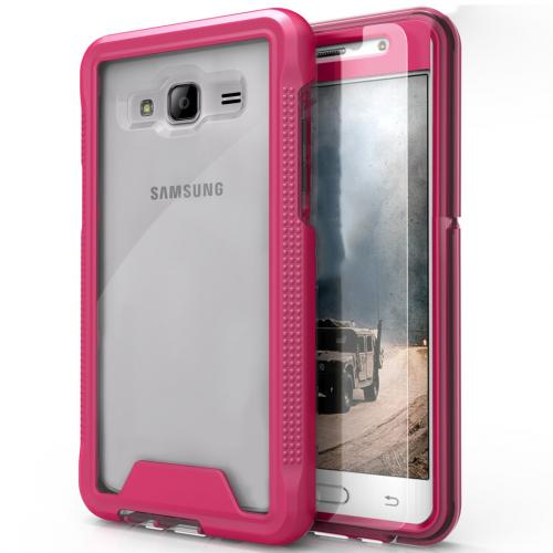 Samsung Galaxy On5 G550 Case, ION Single Layered Shockproof Protection TPU & PC Hybrid Cover w/ Tempered Glass [Hot Pink/ Clear]