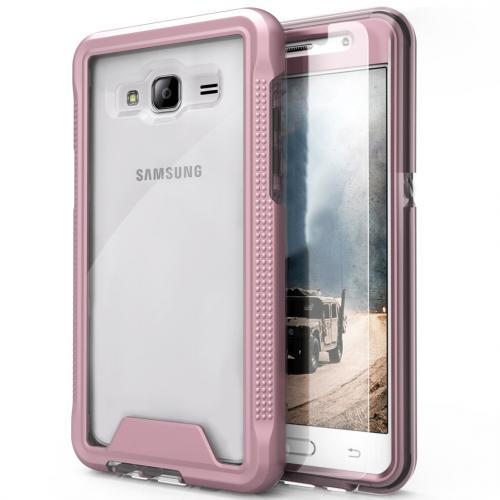 [Samsung Galaxy On5] G550 Case, ION Single Layered Shockproof Protection TPU & PC Hybrid Cover w/ Tempered Glass [Rose Gold/ Clear]