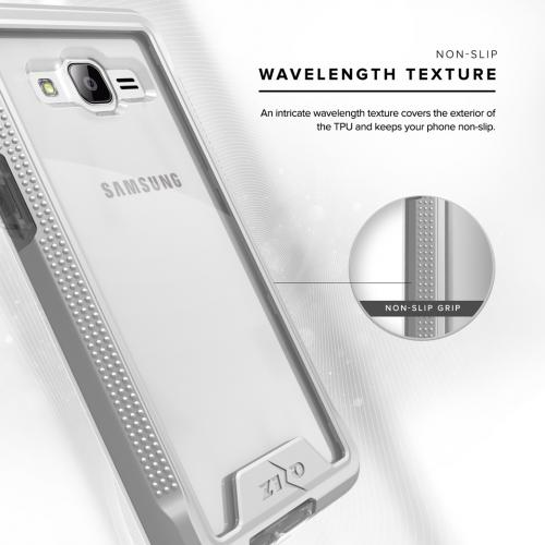 [Samsung Galaxy On5] G550 Case, ION Single Layered Shockproof Protection TPU & PC Hybrid Cover w/ Tempered Glass [Silver/ Clear]