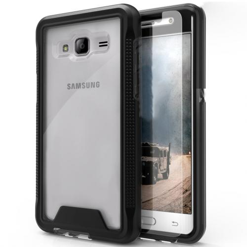 [Samsung Galaxy J3/ Galaxy Amp Prime] Case, ION Single Layered Shockproof Protection TPU & PC Hybrid Cover w/ Tempered Glass [Black/ Clear]