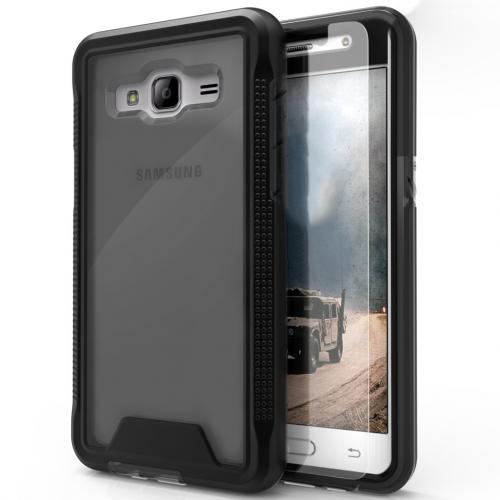[Samsung Galaxy J3/ Galaxy Amp Prime] Case, ION Single Layered Shockproof Protection TPU & PC Hybrid Cover w/ Tempered Glass [Black/ Smoke]