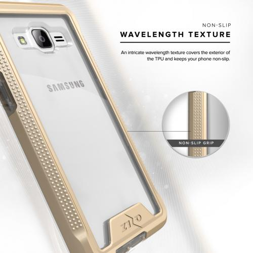 Samsung Galaxy J3/ Galaxy Amp Prime Case, ION Single Layered Shockproof Protection TPU & PC Hybrid Cover w/ Tempered Glass [Gold/ Clear]