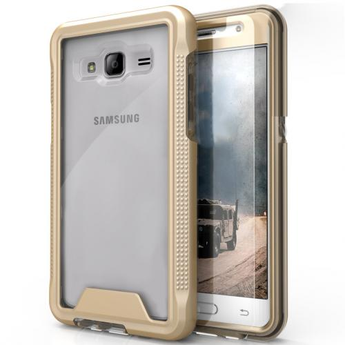 [Samsung Galaxy J3/ Galaxy Amp Prime] Case, ION Single Layered Shockproof Protection TPU & PC Hybrid Cover w/ Tempered Glass [Gold/ Clear]