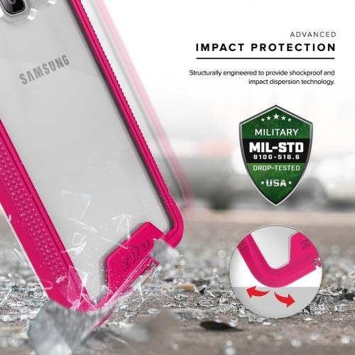 [Samsung Galaxy J3/ Galaxy Amp Prime] Case, ION Single Layered Shockproof Protection TPU & PC Hybrid Cover w/ Tempered Glass [Hot Pink/ Clear]