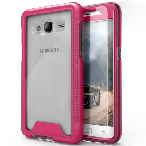 Samsung Galaxy J3/ Galaxy Amp Prime Case, ION Single Layered Shockproof Protection TPU & PC Hybrid Cover w/ Tempered Glass [Hot Pink/ Clear]