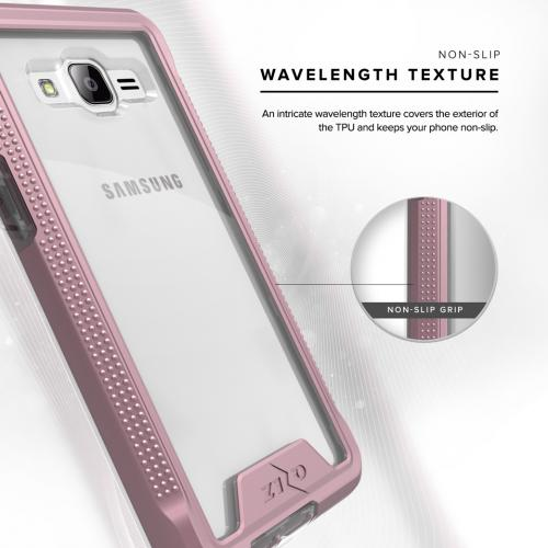 [Samsung Galaxy J3/ Galaxy Amp Prime] Case, ION Single Layered Shockproof Protection TPU & PC Hybrid Cover w/ Tempered Glass [Rose Gold/ Clear]