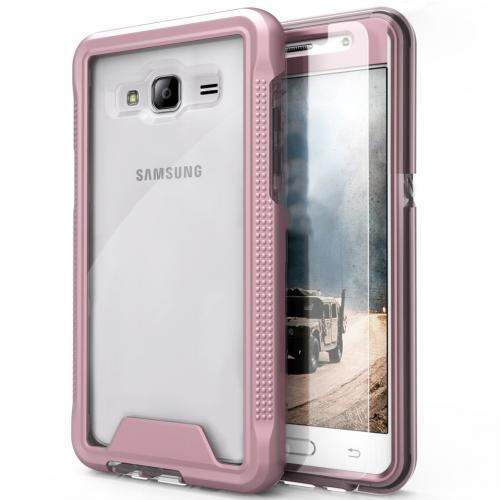 Samsung Galaxy J3/ Galaxy Amp Prime Case, ION Single Layered Shockproof Protection TPU & PC Hybrid Cover w/ Tempered Glass [Rose Gold/ Clear]