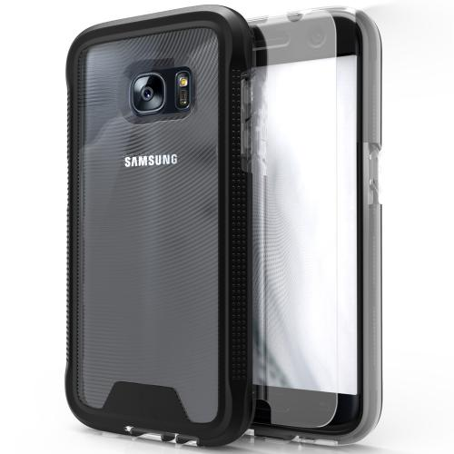 [Samsung Galaxy S7] Case, ION Single Layered Shockproof Protection TPU & PC Hybrid Cover w/ Tempered Glass [Black/ Clear]