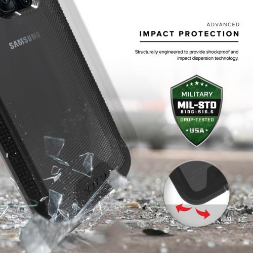 [Samsung Galaxy S7] Case, ION Single Layered Shockproof Protection TPU & PC Hybrid Cover w/ Tempered Glass [Black/ Smoke]