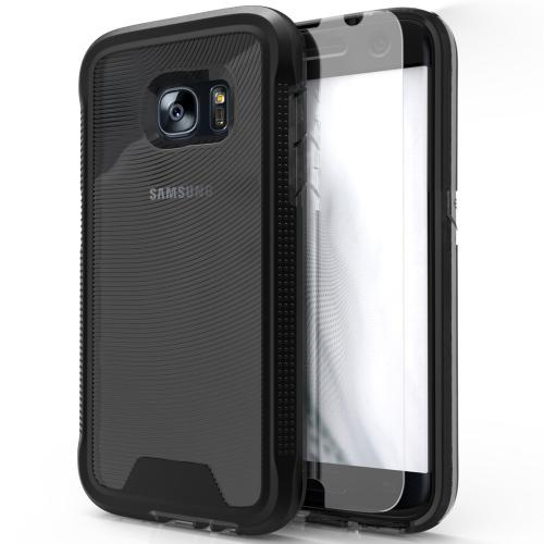 Samsung Galaxy S7 Case, ION Single Layered Shockproof Protection TPU & PC Hybrid Cover w/ Tempered Glass [Black/ Smoke]