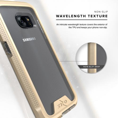 [Samsung Galaxy S7] Case, ION Single Layered Shockproof Protection TPU & PC Hybrid Cover w/ Tempered Glass [Gold/ Clear]