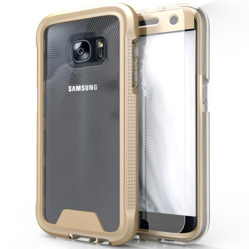 Samsung Galaxy S7 Case, ION Single Layered Shockproof Protection TPU & PC Hybrid Cover w/ Tempered Glass [Gold/ Clear]