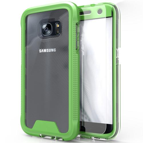 [Samsung Galaxy S7] Case, ION Single Layered Shockproof Protection TPU & PC Hybrid Cover w/ Tempered Glass [Neon Green/ Clear]
