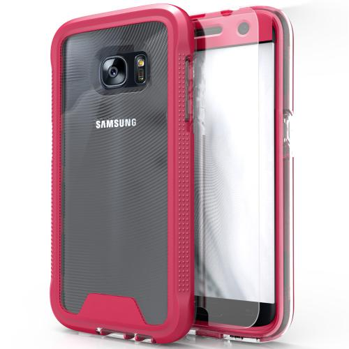 [Samsung Galaxy S7] Case, ION Single Layered Shockproof Protection TPU & PC Hybrid Cover w/ Tempered Glass [Hot Pink/ Clear]