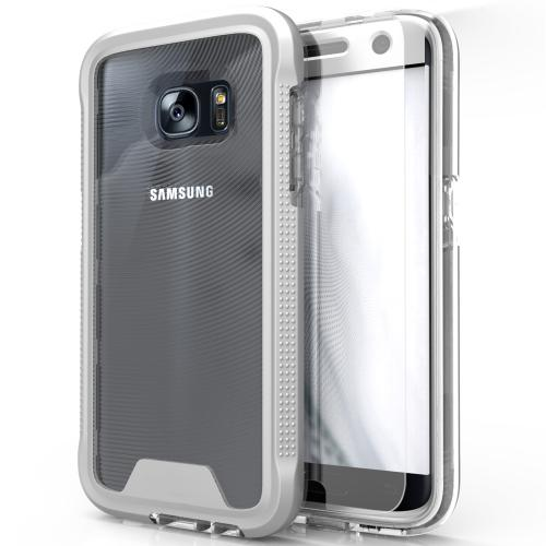 [Samsung Galaxy S7] Case, ION Single Layered Shockproof Protection TPU & PC Hybrid Cover w/ Tempered Glass [Silver/ Clear]