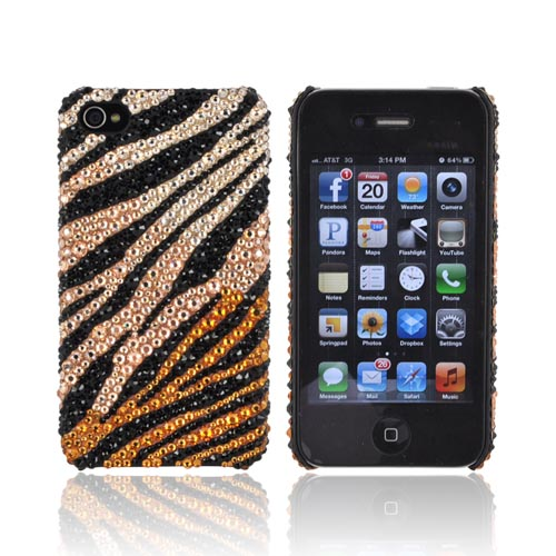 Super Ultra-Premium AT&T Apple iPhone 4 Handmade 3D Swarovski Compatible Bling Hard Case - Gold/ Orange & Black Zebra