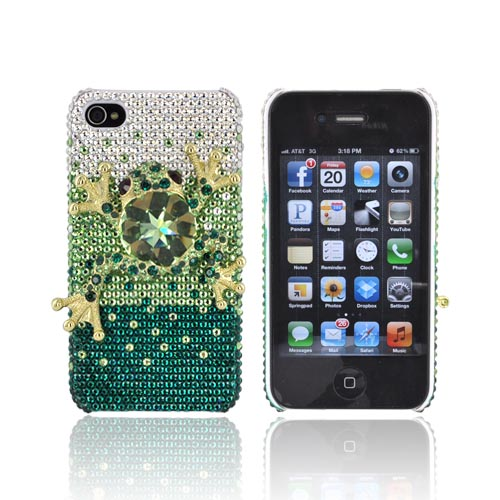 Super Ultra-Premium AT&T Apple iPhone 4 Handmade 3D Swarovski Compatible Bling Hard Case - Gold/ Green Frog on Green/ Silver Gems