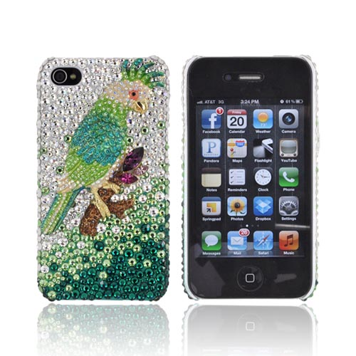 Super Ultra-Premium AT&T Apple iPhone 4 Handmade 3D Swarovski Compatible Bling Hard Case - Gold/ Green Parrot on Green/ Silver Gems