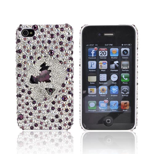 Super Ultra-Premium AT&T Apple iPhone 4 Handmade 3D Swarovski Compatible Bling Hard Case - Silver/ Purple Skull on Silver/ Purple Gems