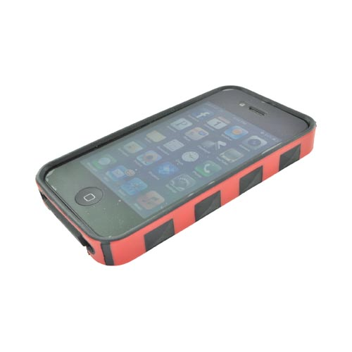 AT&T/ Verizon Apple iPhone 4, iPhone 4S Fusion Candy Case - Red/ Black