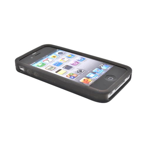 Original EZ Capes Apple iPhone 4 Silicone Case, IP4-AHBK - ABC Design on Smoke