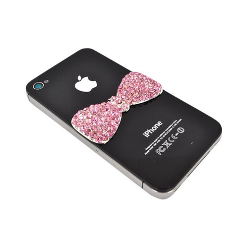 Apple iPhone 4/4S DIY Essential Bundle w/ Glossy White Ultra Slim Hard Case, Pink Bling Bow, & E-6000 Glue