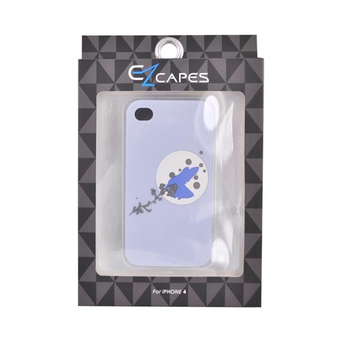 Original EZ Capes Apple iPhone 4 Silicone Case, IP4-HBGY - Moon Bird on Blue