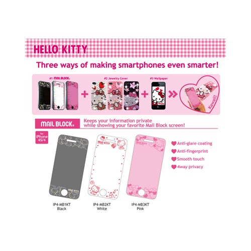 Officially Licensed Sanrio Hello Kitty At&t;/ Verizon Apple Iphone 4, Iphone 4s Mail Block 4 Way Privacy Screen Protector - White/ Red Tea Party