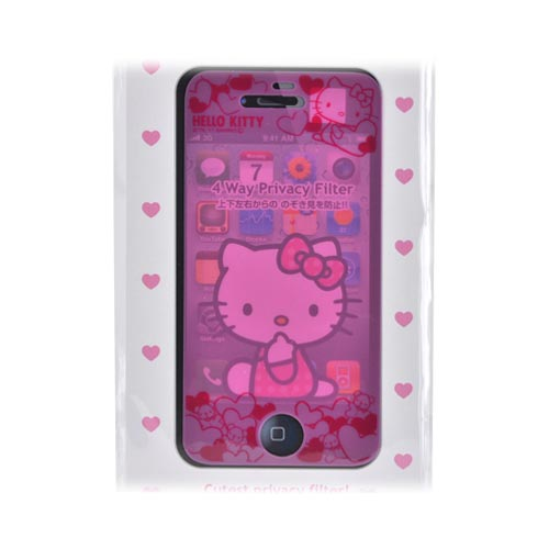 Officially Licensed Sanrio Hello Kitty AT&T/ Verizon Apple iPhone 4, iPhone 4S Mail Block 4 Way Privacy Screen Protector, IP4-MB3KT - Pink Hearts & Teddy Bears