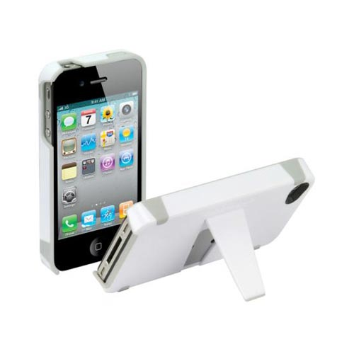 Original Scosche KickBack Apple Verizon/ AT&T iPhone 4, iPhone 4S Hard Case w/ Kickstand, IP4K - White/Gray