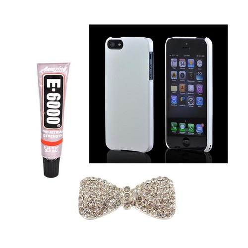 Apple iPhone 5/5S DIY Essential Bundle w/ Glossy White Ultra Slim Hard Case  Silver Bling Bow  & E-6000 Glue