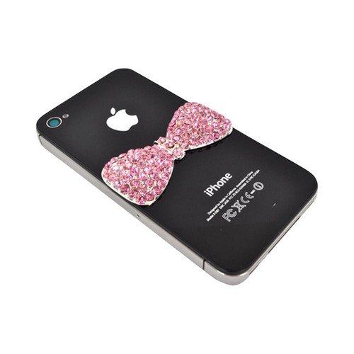 Apple iPhone 5/5S DIY Essential Bundle w/ Glossy White Ultra Slim Hard Case  Pink Bling Bow  & E-6000 Glue