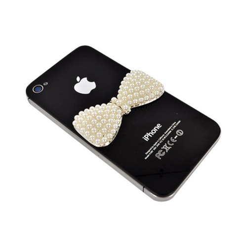 Apple iPhone 5/5S DIY Essential Bundle w/ Glossy White Ultra Slim Hard Case  Pearl Bow  & E-6000 Glue
