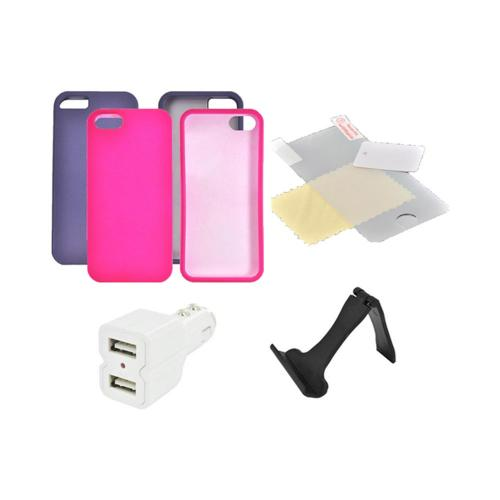 Apple iPhone 5/5S Essential Girly Bundle Package w/ Hot Pink & Purple Rubberized Hard Case  Mirror Screen Protector  Dual USB Car Charger w/ Lightning Charging Cable & Display Stand